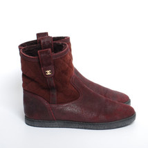 612a4e1541e CHANEL Bordeaux Suede Shearling Ankle Boots Quilted Round Toe Booties Sz US  5.5 - $645.79