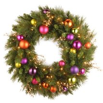 National Tree 30 Inch Kaleidoscope Wreath with 70 Battery Operated Soft White LE image 3