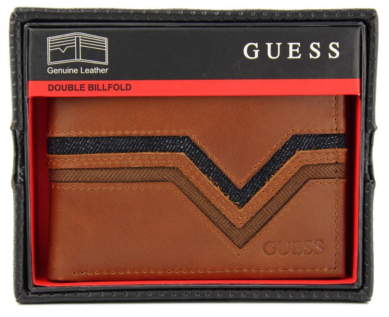 NEW GUESS MEN'S LEATHER CREDIT CARD ID WALLET PASSCASE BIFOLD TAN 0465/04