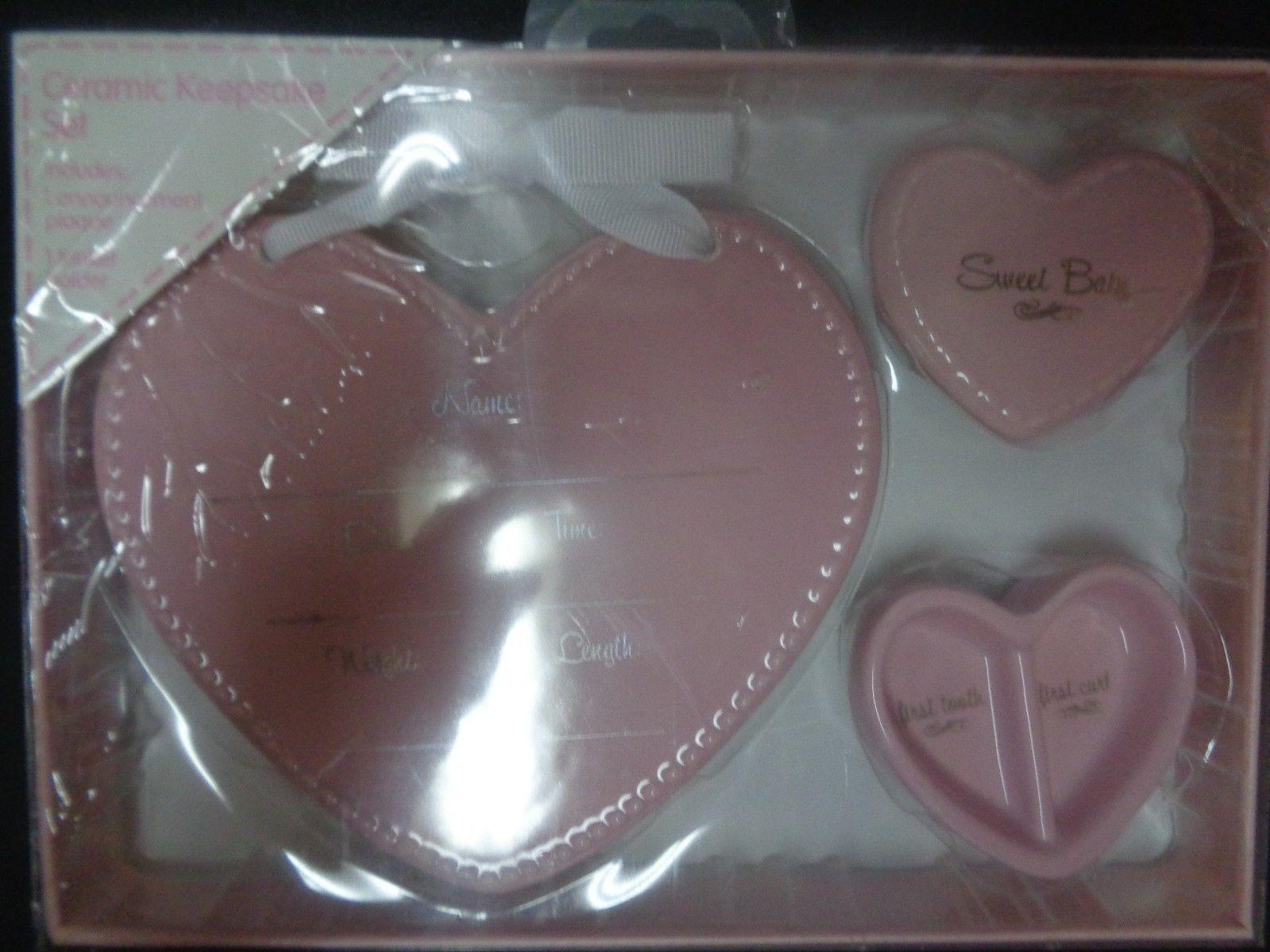 Ceramic Baby Girl Keepsake Set Pink NIB Hearts Stepping Stones C.R.Gibson