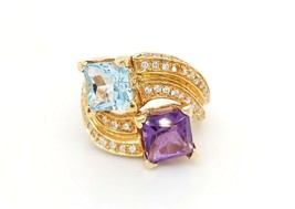18k Yellow Gold Vintage Women's Birthstone Ring With cz - $1,153.75
