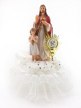 1st Communion Cake Top w/Jesus Next to Girl Standing White trim design 7... - $29.65