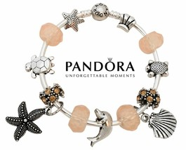 Authentic Silver Pandora Charm Bangle Bracelet with 13 Beach Ocean Dolph... - $84.14