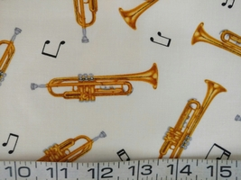 1/2 yd Music/Trumpet horns instruments on ivory quilt fabric -free shipping image 3