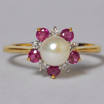 Cultured Pearl Pink Sapphire Diamond Promise Ring Women 14K Yellow Gold - $440.00