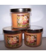 Lot of 3 Slatkin & Co Orchard Petal Scented Jar Candles wih Lids 4 oz each - $22.95