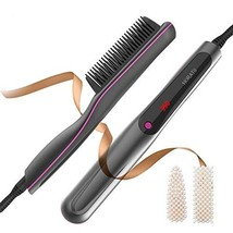 Hair Straightener Brush Ionic Heat Brush with Anti-Scald Feature, Auto Temperatu