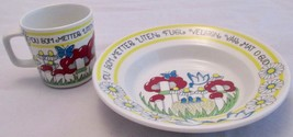 Figgjo Norway Children's Bowl & Cup Mushrooms Daisies Birds with Blessing - $35.63