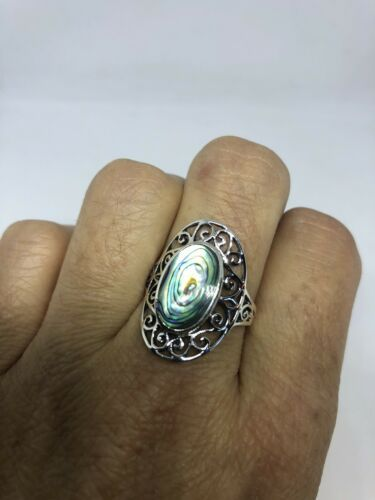 Vintage Noeud Celtique en Argent Sterling 925 Size 8.5 Véritable Abalone Bague