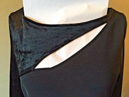 Anne Klein Black Velvet & Rayon Cutout Long Formal Dress size S M NWT $225 DS7 image 3