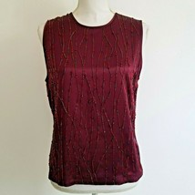 Dana Buchman 8 Silk Top  Maroon Beaded Sleeveless Lined FS9 - $25.00