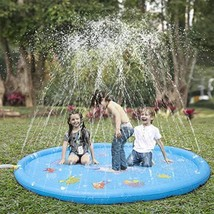 """KKONES Sprinkler Pad & Splash Play Mat 68"""" Toddler Water Toys Fun for 3 4 5 6 Ye"""
