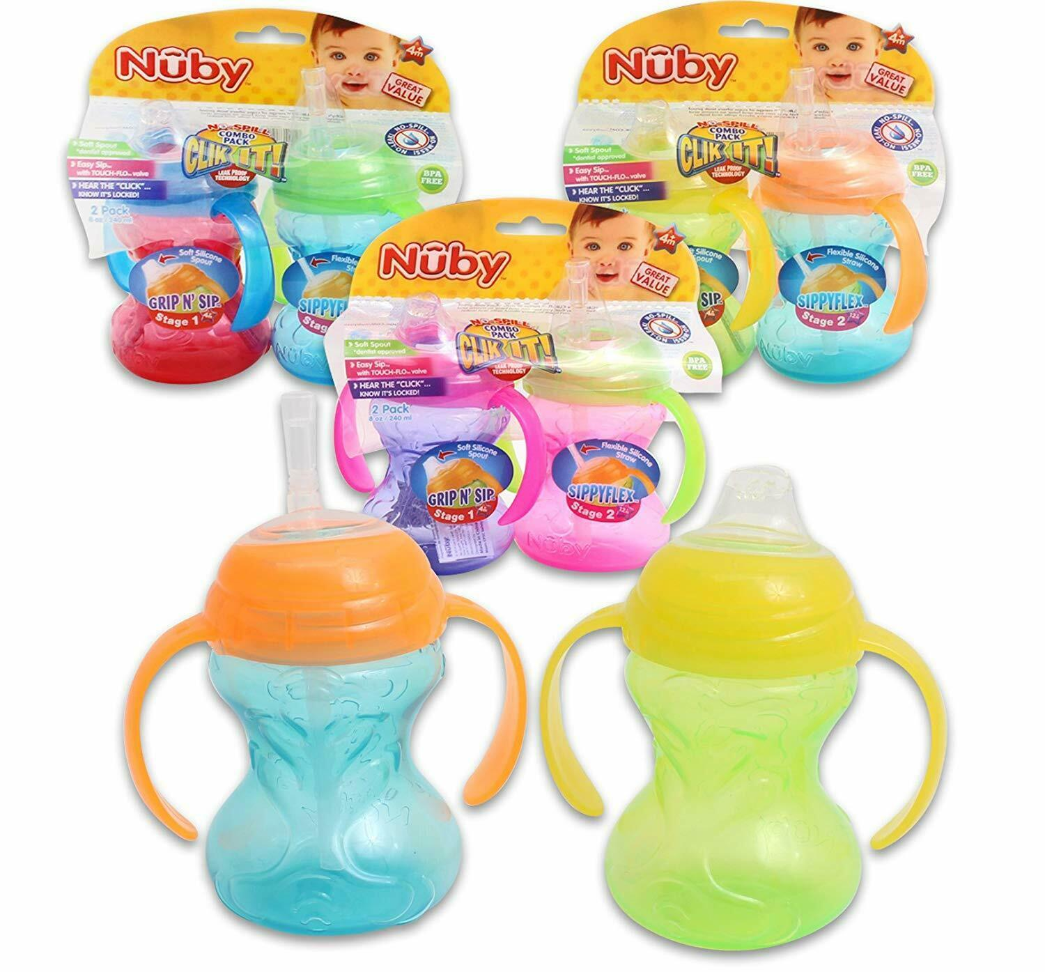 Nuby No-Spill Combo Pack Sippy Cups Flex Straw & Toddler Soft Spout Colors  Vary - $8.99