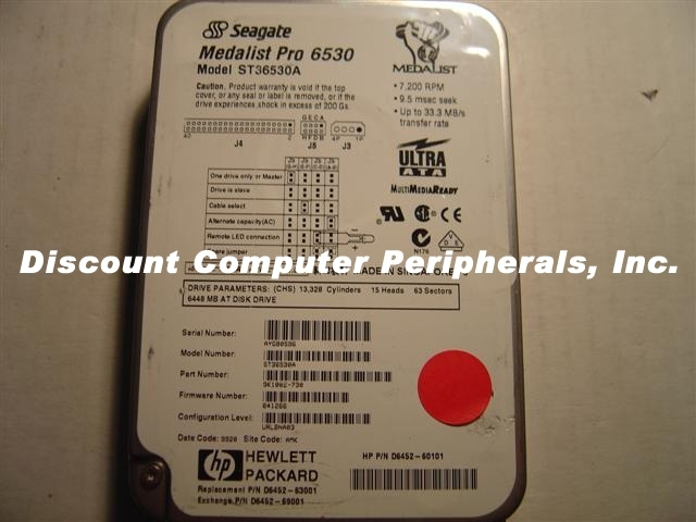 6.5GB 3.5in LP IDE ST36530A HP D6452-60101 Free USA Ship Our Drives Work