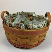 """Longaberger 8"""" Round Basket 1995 Floral Liner Plastic Protector Leather ... - $19.99"""