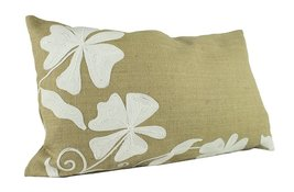 "Fennco Styles Floral Embroidery Burlap Decorative Throw Pillow, 14""x23"" ... - $43.55"