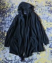 MENS ZARA Slub Cotton Hooded Long Drape Cardigan w/ Zipper Detail in Bla... - $87.12