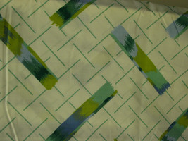 VTG CANNON MONTICELLO GEOMETRIC TWIN FLAT SHEET BLUE GREEN NWOT - $4.99