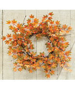 Mable Floral Wreath Fall Door Autumn Leaves Berries   - $49.99