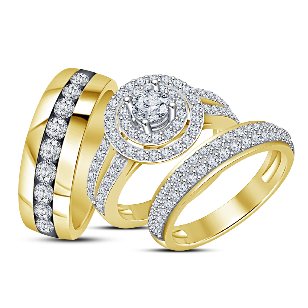Wedding Yellow Gold Over 925 Silver Round Cut Diamond Engagement Trio Ring Set