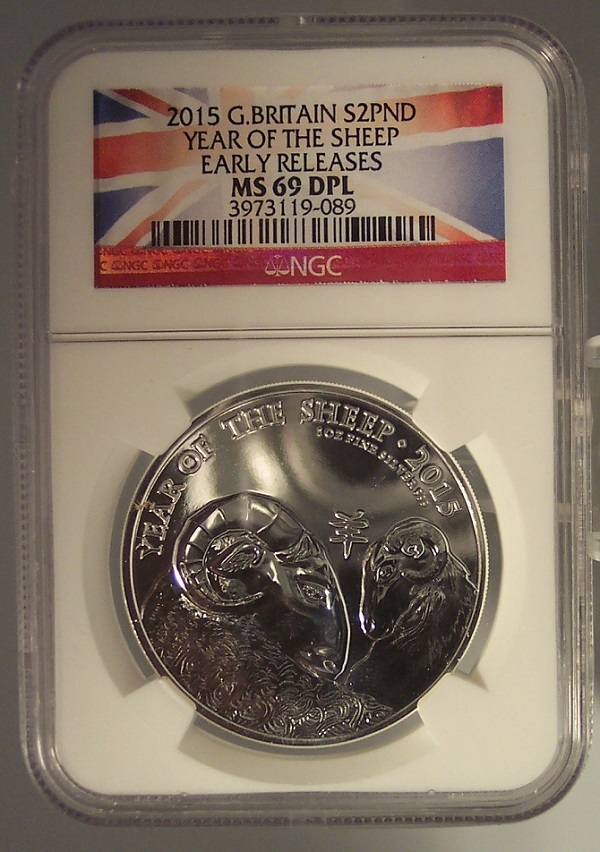 2015 Great Britain Year of the Sheep 1oz Silver NGC MS69DPL Flag Label #G049 - $79.99