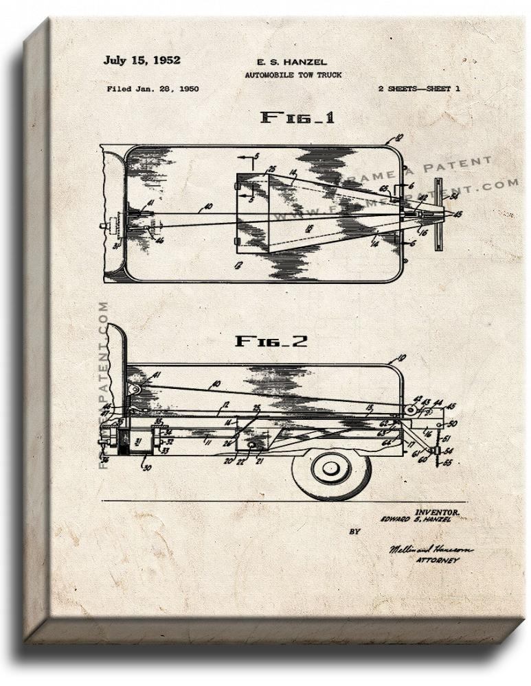 Primary image for Automobile Tow Truck Patent Print Old Look on Canvas