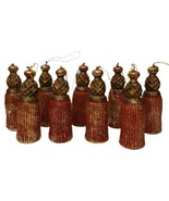Lot of 9 Plastic Tassel Shaped Ornaments Red with Gold Highlights Vintage?? - $19.79