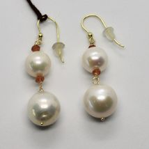 SOLID 18K YELLOW GOLD EARRINGS WITH WHITE FW PEARL AND CITRINE MADE IN ITALY image 4