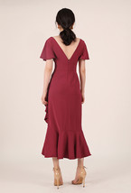 Red Cap Sleeve Long Cocktail Dress Chiffon High Waist Wedding Guest Shift Dress image 4