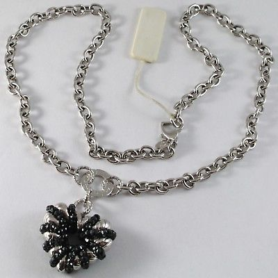 SILVER 925 NECKLACE, ROLO' WITH HEART PENDANT MILLED AND SPINEL BLACK