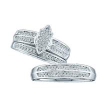 10k White Gold His Her Round Diamond Cluster Matching Bridal Wedding Ring Set - $439.00