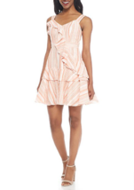 NWT MAGGY LONDON WHITE PINK COTTON RUFFLE DRESS SIZE 14 $138 - $32.91
