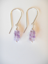 Amethyst Dangle Earrings, Natural Gemstones, Sterling Silver - $18.00