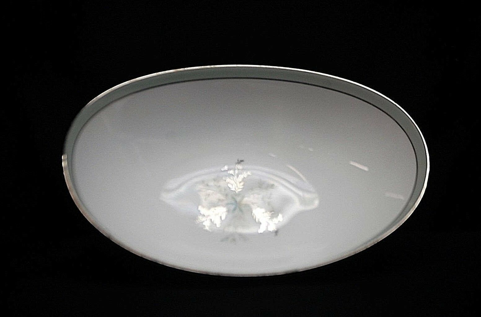 "Primary image for Noritake China Lucille 5813 10"" Oval Vegetable Bowl Gray Green Band Flower Japan"