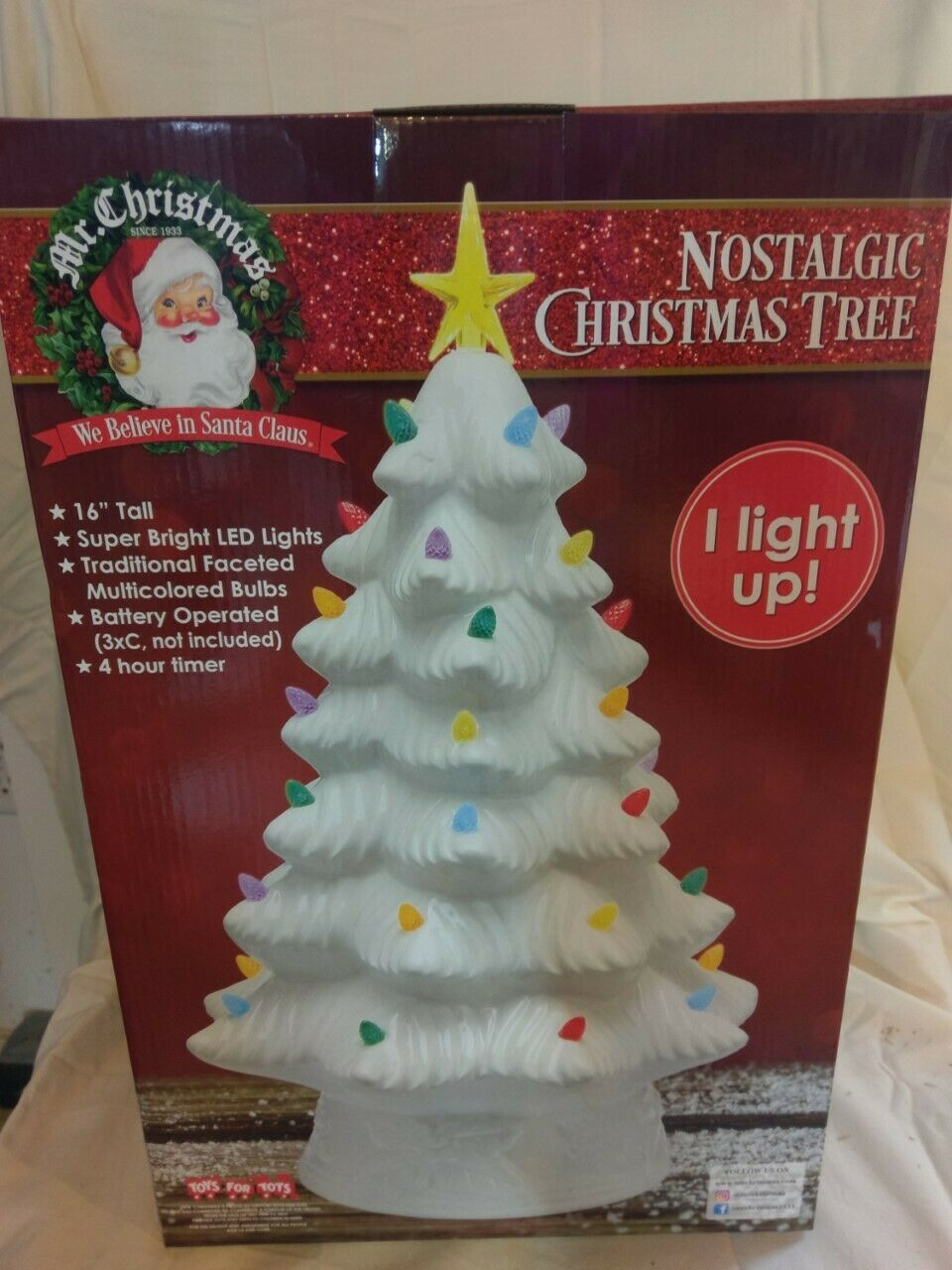 "Primary image for NEW Mr. Christmas 16"" LED Retro Nostalgic Ceramic Christmas Tree White Light Up"