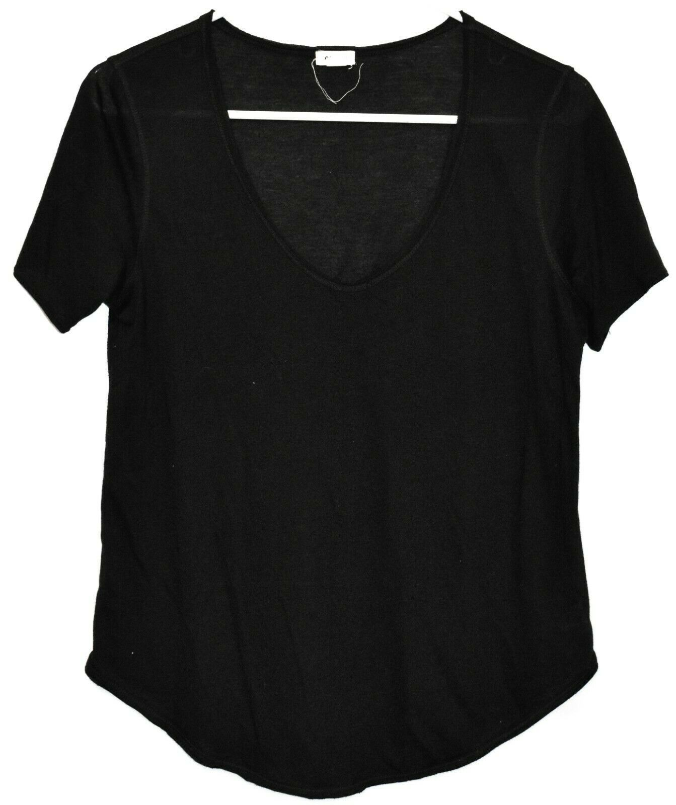 Garage Women's Sheer Black Jersey Knit Short Sleeve Shirt Size M