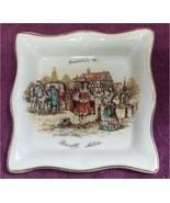 Souvenir Banff Alta Square Dish Scenic Old Days Gentleman Lady Coach Eng... - $12.99