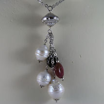 .925 SILVER RHODIUM NECKLACE WITH BAROQUE WHITE PEARLS AND TOURMALINES image 3