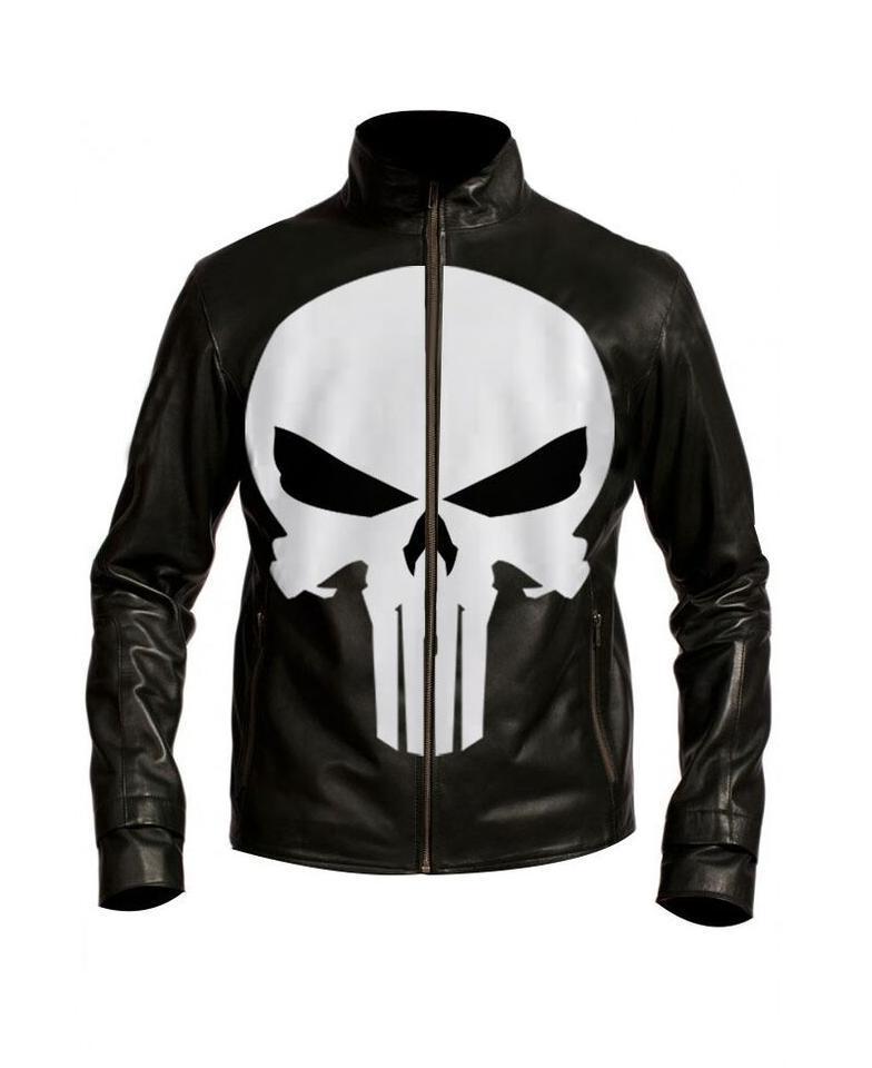 Punisher biker leather jacket