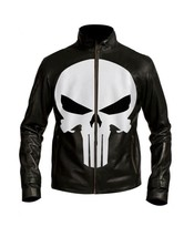 Punisher Biker Knockoff Men Leather Jacket