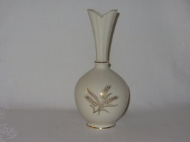 "Vintage Lenox China White Bud Vase Gold Wheat Leaves Gold Trim 8"" tall - $6.27"