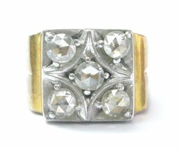 Rose Cut Diamond Vintage Ring Two-Tone 14KT Solid Gold 1.00Ct SIZEABLE - $1,633.50