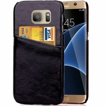 Card Slot Crazy Horse Leather Coated PC Cover for Samsung Galaxy S7 edge G935 - $3.69