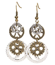 Nice Industrial Steampunk Style Metal Gear Dangle Earrings - $19.00