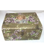 """Victorian Dresser Box Violets Lily of the Valley 5 3/8"""" Red Fabric Inside - $29.21"""