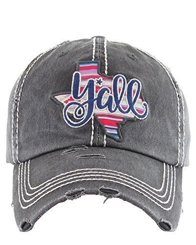 Distressed Embroidered Texas State Y'all Baseball Hat (Gray)