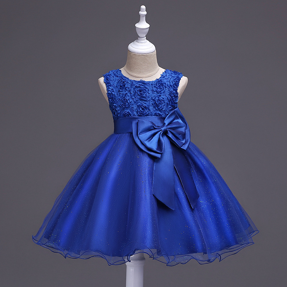 Pricess Lace Royal Blue Satin Short Flower Girl Dress 2018 O-Neck Party Gowns