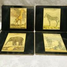 African Safari Shop Decoupage Cork Back 4 Lacquer Animal Placemats Metal Edge - $33.44