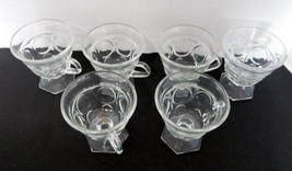 Indiana Glass Clear Lexington Footed Punch Cups 6 Sided Feet Set of Six - $16.71