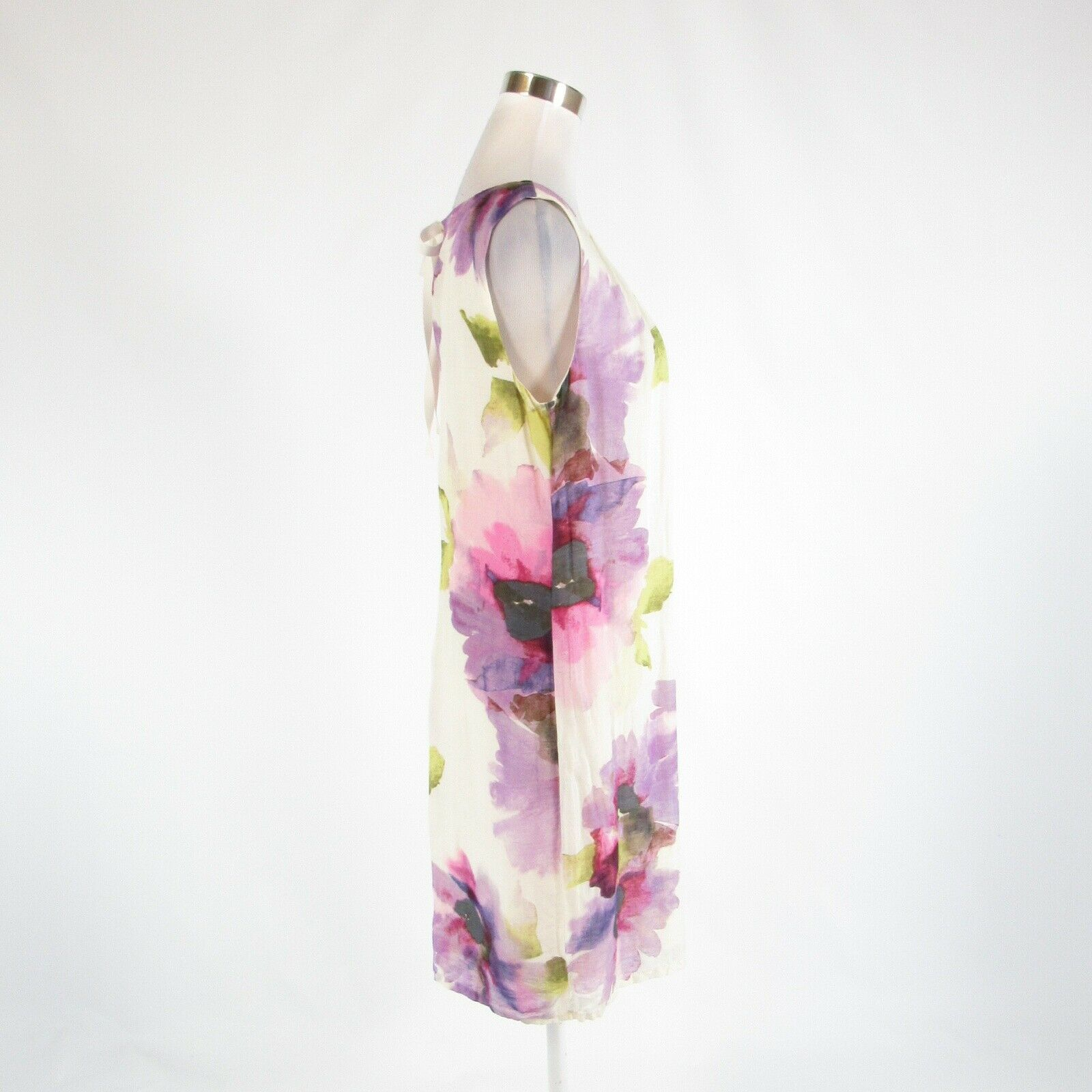 White purple floral print ANN TAYLOR LOFT sleeveless shift dress 10 image 5
